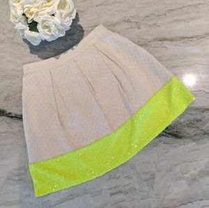 A Line Skater Neon Sequence and Khaki Skirt